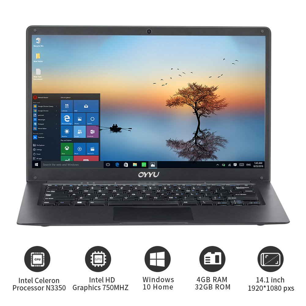 "Amazon.com: OYYU Ubook7 14.1"" FHD Laptop Computer, Intel Celeron Processor N3350, 4GB RAM 32GB eMMC, Windows 10 Home, SATA HDD Slot, Ethernet Network RG45, ..."