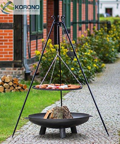 Set - Schwenkgrill 1,80m mit Kurbel incl. Ø60cm Grillrost und Ø70cm Feuerschale 302