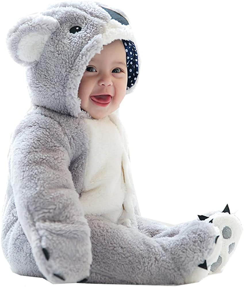 Himom Newborn Baby Cotton Outfit Jumpsuit Hoody Coat Winter Infant Rompers Bodysuit for 0-12 Months Baby Girl boy
