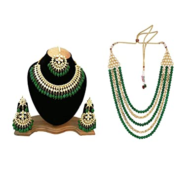 7780978cb52 Buy Gemsjewellery Green Kundan Gold-Plated Choker Necklace Long Mala  Jewellery with Earring Tika Set for Women Online at Low Prices in India