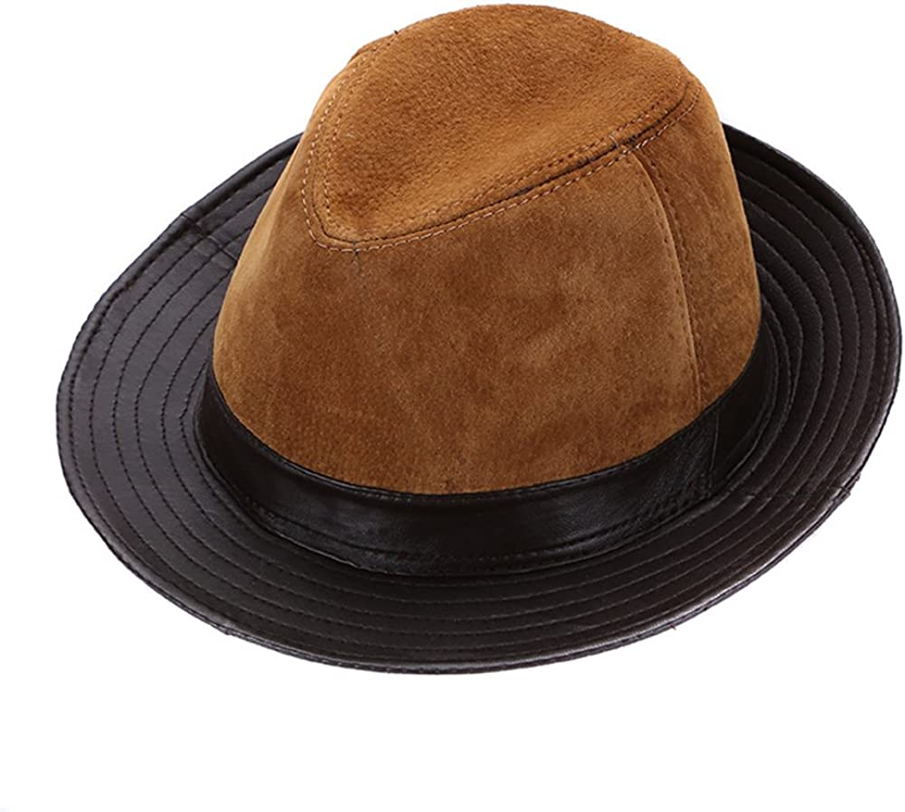 seemehappy Mens Genuine Leather Hat Sheepskin Fedora Hat Safari Hat Black Brown