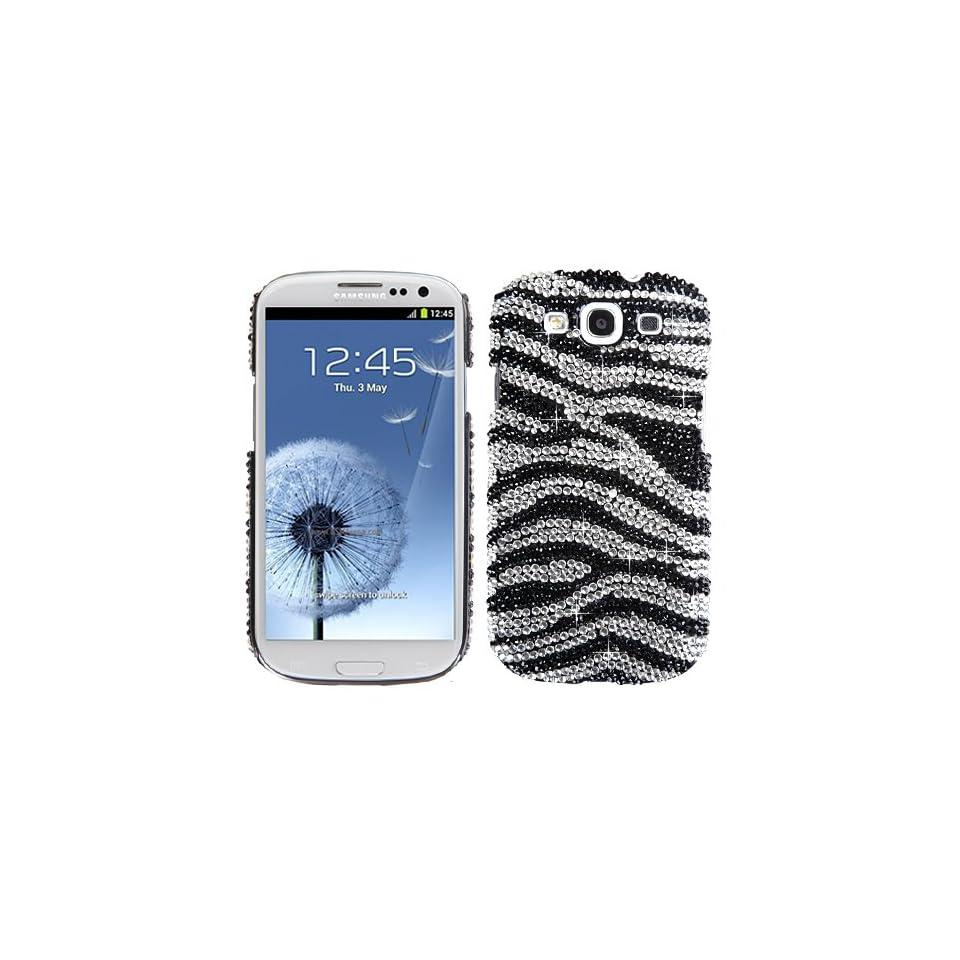 Hard Plastic Snap on Cover Fits Samsung i747 L710 T999 i535 R530 i9300 Galaxy S III Black/White Zebra Skin Diamond Desire Back