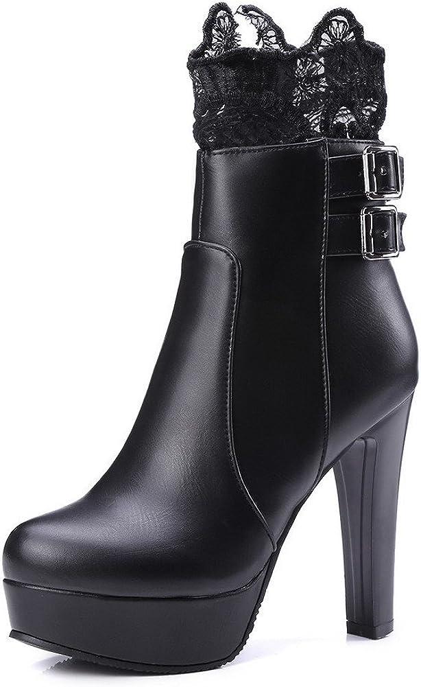 AmoonyFashion Womens Solid Pu High Heels Zipper Round Closed Toe Boots