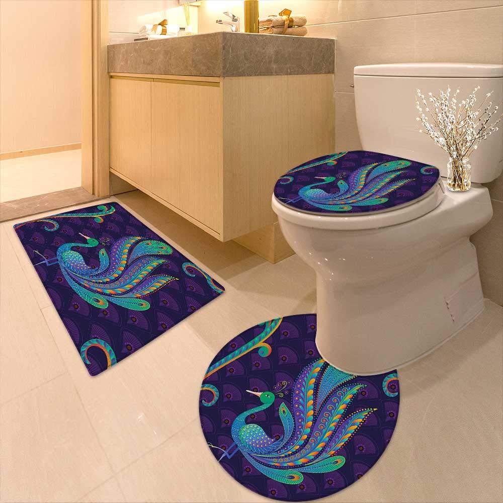 Printsonne 3 Piece Extended Bath mat Set Bird with Oriental Feather Before Eastern Spiritual Animal Image Dark Purple Teal Blue 3 Piece Toilet Cover Set