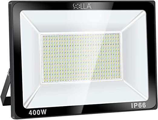 SOLLA Luz de Inundación de 400W LED,Luz de Seguridad para Exteriores, 1600W Equiv, 6000K Luz del día blanco, 32000LM, Resistente al Agua IP66, Garantía de 24 Meses