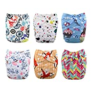 Babygoal Baby Cloth Diapers,Reusable Washable Pocket Nappy, 6pcs Diapers+ 6 Inserts+One Wet Bag 6FG22
