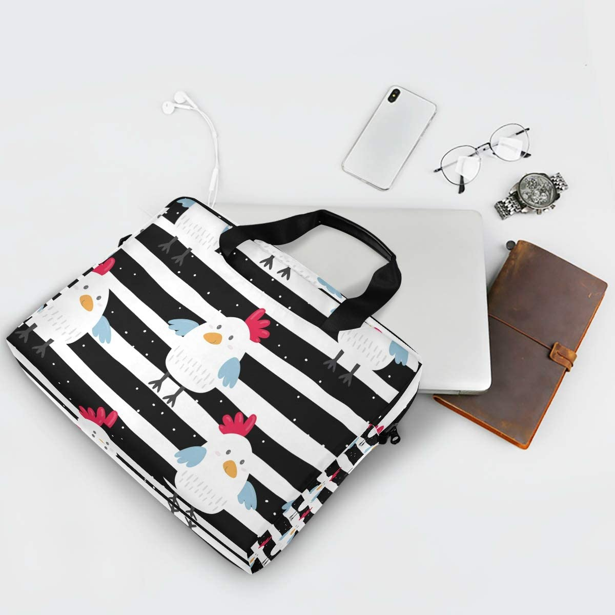 XMCL Laptop Sleeves Case Farm Chicken Rooster 15-16 Inch Laptop Messenger Bag Briefcase with Handle Strap for Men Women