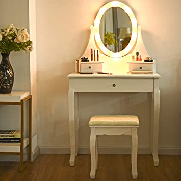 2 DRAWER VANITY MIRROR WOODEN ROSE MAKE UP TABLE BEDROOM GIFT WHITE DRESSING NEW