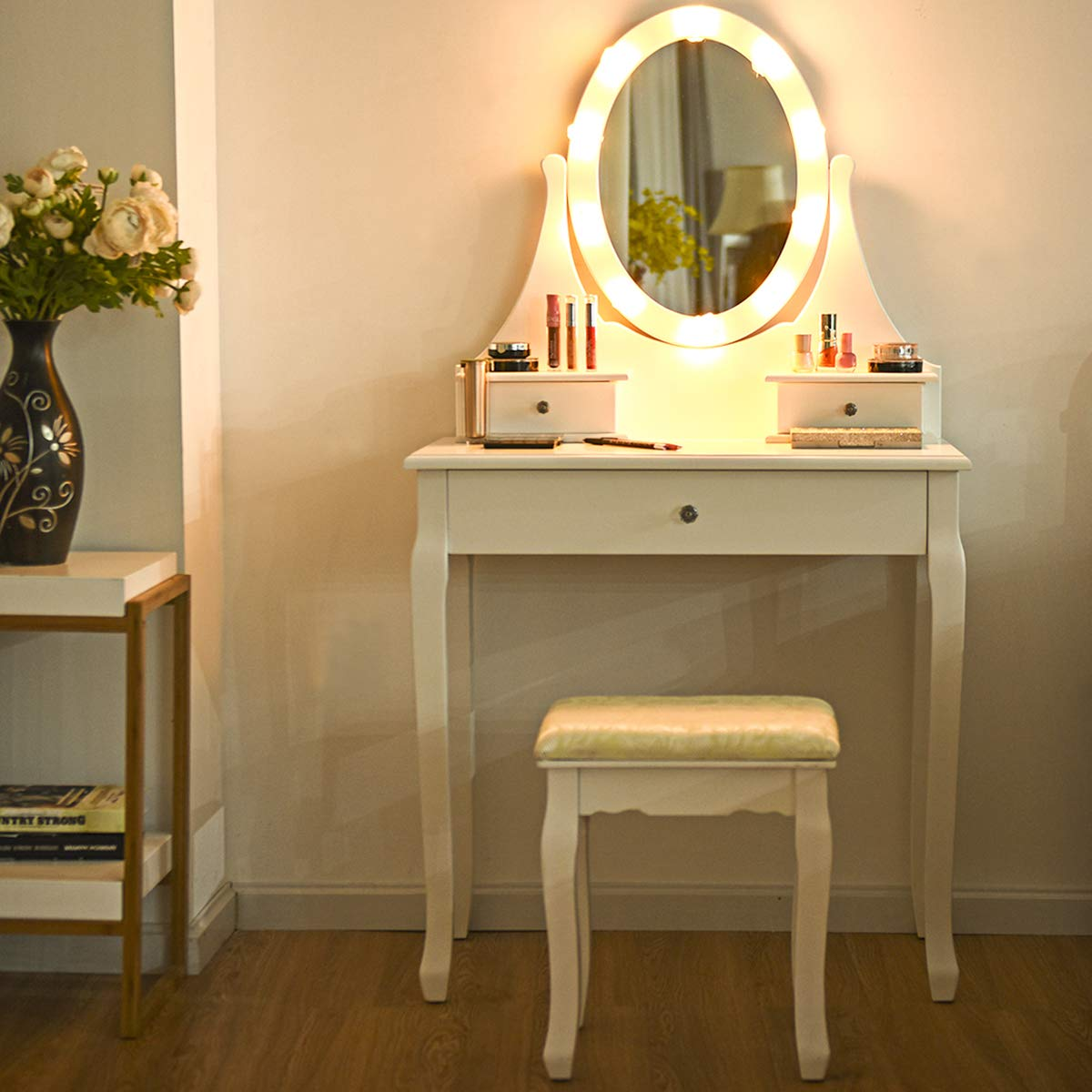 Giantex Vanity Set with Lighted Mirror, Makeup Table with 10 Rose Light, Modern Dressing Desk with Cushioned Stool, 3 Drawers and 360° Rotating Mirror for Bedroom, Vanity Table with Stool (White) by Giantex