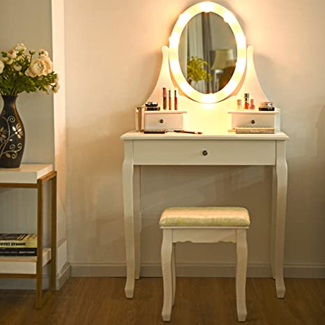 Giantex Vanity Set with 10 LED Lights Mirror and Cushioned Stool, Makeup  Dressing Table with Large Drawer and 360° Rotating Mirror, Bedroom Bathroom  ...