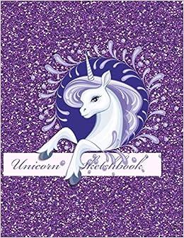 Unicorn Sketchbook Large Faux Glitter Sketch Book Journal For