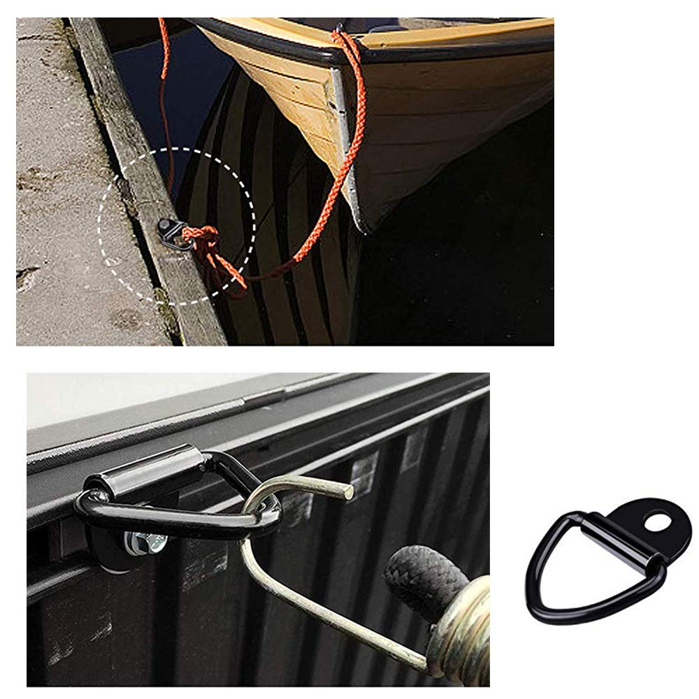 Kayaks Camionetas Veh/ículos Todo 4pcs V-Rings Gancho para la sujeci/ón de la Carga en los Coches de Kayak y remolques adecuados,Anillas de Sujecci/ón M/áximo 400kg para Pernos de Anclaje en Camiones