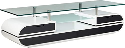 Furniture of America Glenn Contemporary TV Console Stand, 63-Inch, Glossy Black and White