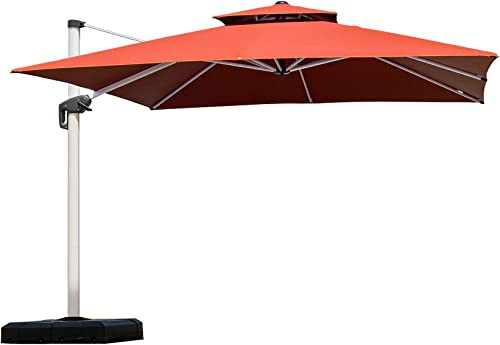 PURPLE LEAF 12 Feet Double Top Deluxe Square Patio Umbrella Offset Hanging Umbrella Cantilever Umbrella Outdoor Market Umbrella Garden Umbrella, Brick Red