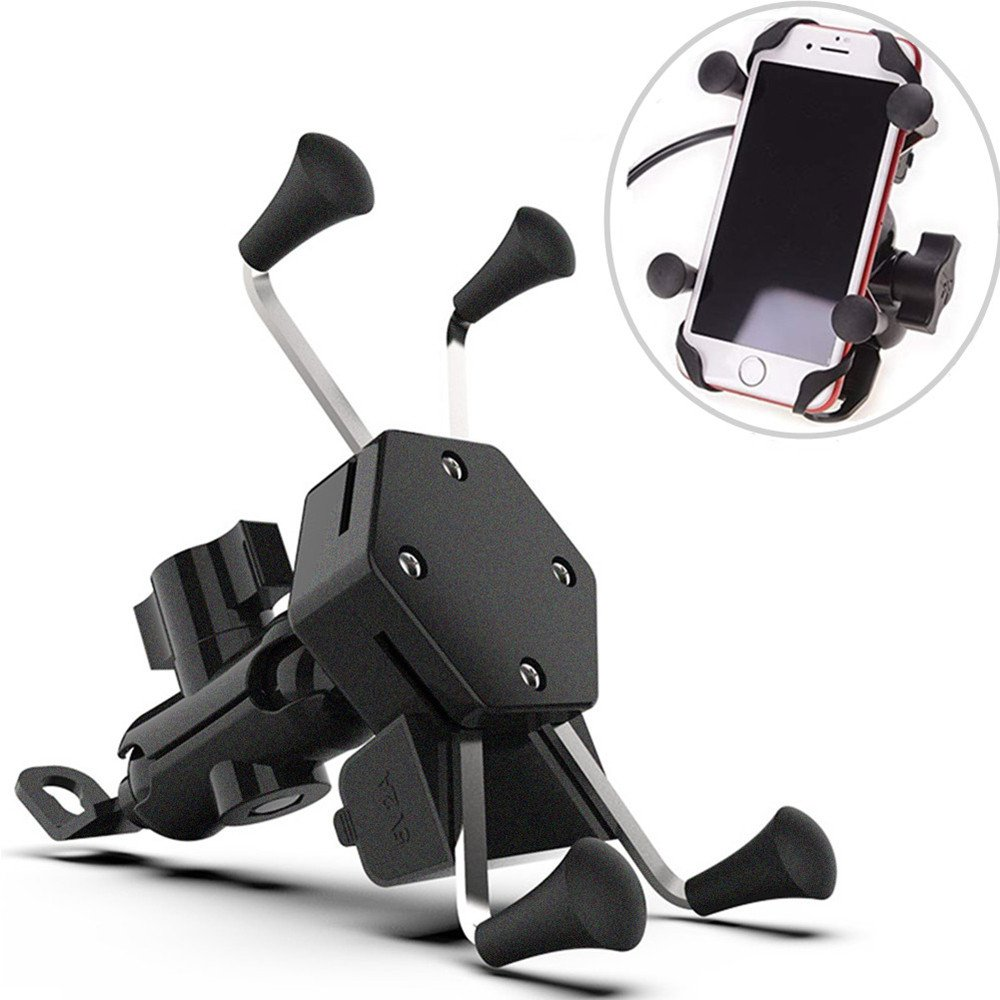 Motorcycle Phone Mount Clamp with USB Charger Port, Phone Holder Aluminum Grip 360 Degree Rotation Universal for iPhone Samsung Galaxy S7/S8 & 3.5-6 Inch Smartphone GPS