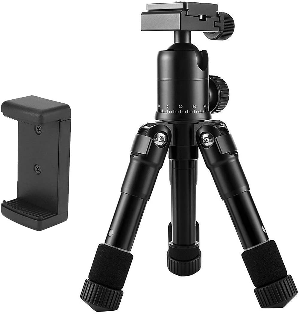 Perfect for DSLR Camera Video Mini Tripod with 360 Degree Ball Head 1//4 Inches Quick Release Plate Aceyyk Camera Mount Phone Tripod Stand