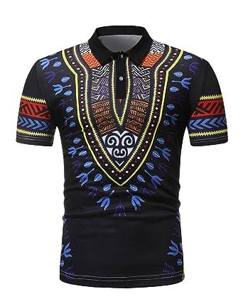 Herren T-Shirt Dashiki Traditionelles Oberteil mit Afrikanischem Druck  Pullover Kurzarm Slim Fit T-Shirt Beiläufig Tops Shirt  Amazon.de   Bekleidung c1d8787efd
