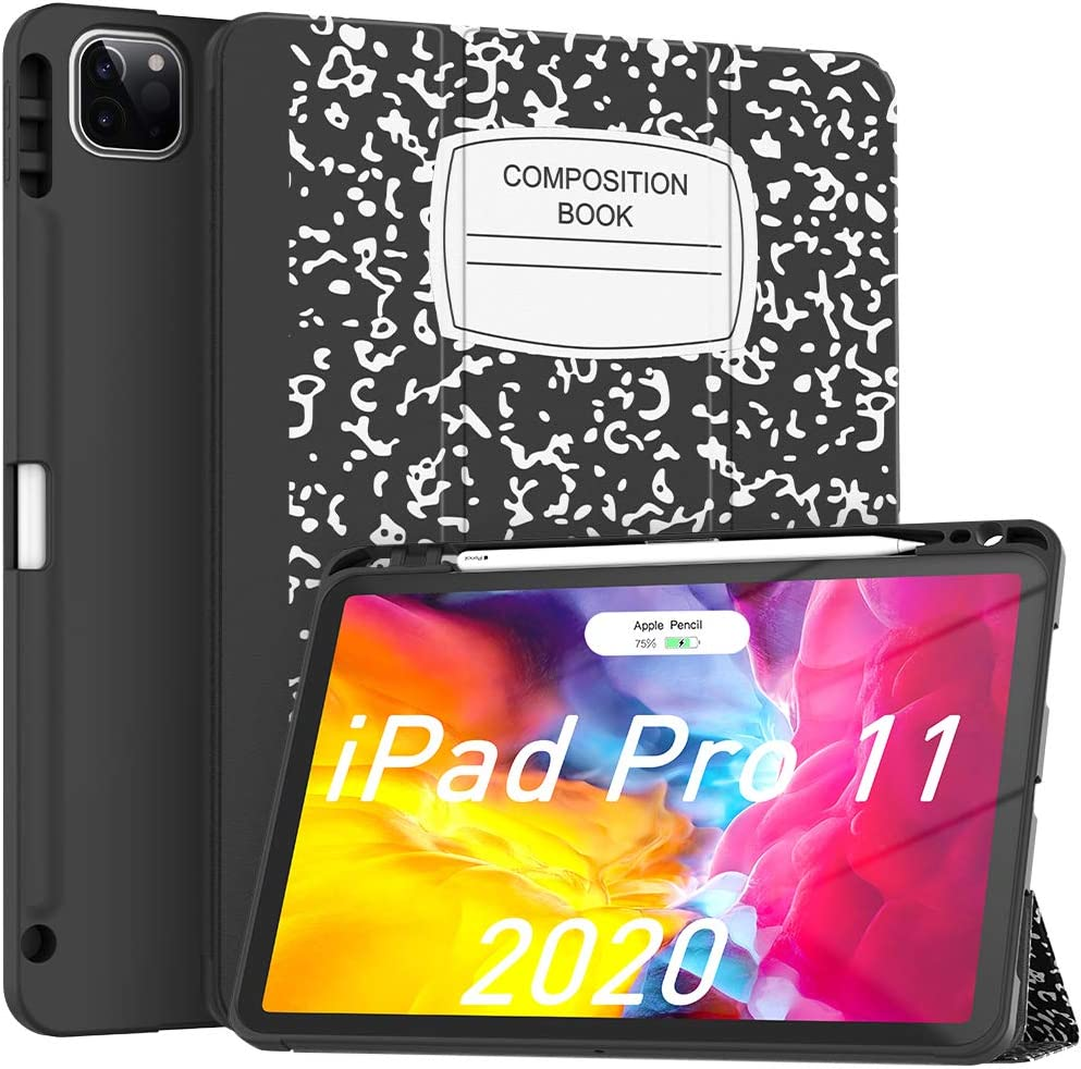 Soke iPad Case Pro 11in 2020 with Pencil Holder,New iPad case 11 inch Lightweight Smart Cover with Soft TPU Back +?Apple Pencil Charging?+Auto Sleep/Wake for iPad Gen 2020 (Black White)