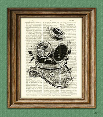 Diving Helmet old school illustration beautifully upcycled dictionary page book art ()