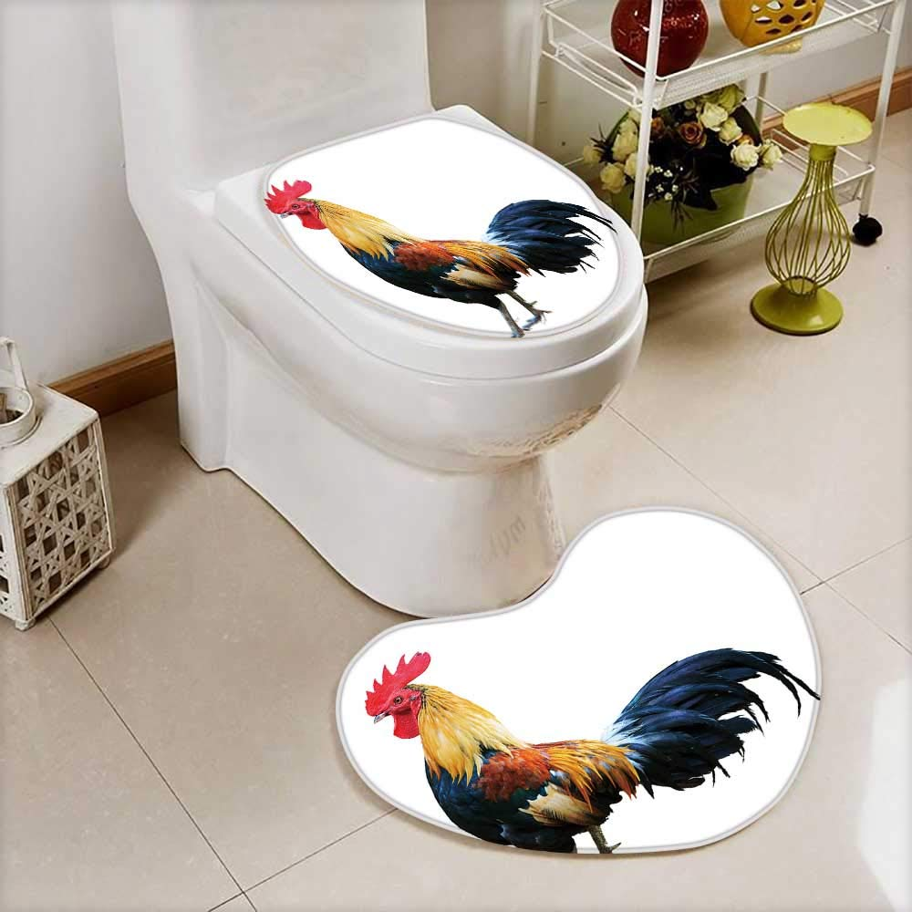 Analisahome Cushion Non-slip Toilet Mat Thai red rooster on white background with High Absorbency by Analisahome