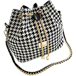 Shoulder Bags Magicub Fashion Women Linen Satchel Clutch Handbag (Houndstooth)