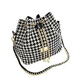 Shoulder Bags Magicub Fashion Women Linen Satchel Clutch Handbag (Houndstooth)