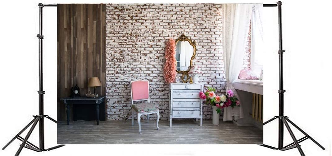 Yeele 10x8ft Photography Background Modern Room Interior Chic Room Setting Dressing Room Vintage Brick Wall Mirror Make Up Flowers Curtain Bridal Braidesmaid Studio Prop Photo Backdrop Wallpaper