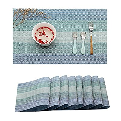 Candumy Blue Placemats for Kitchen Table Set of 8,Heat Stain Non Skid Insulation Crossweave Woven Textilene Vinyl PVC Washable Tablemats for Dinner Table - The size for each placemat is 45*30cm (17.7*11.8 Inch); Package includes 8 placemats in a set; With high quality and environmental material of 70% PVC and 30% polyester Exquisite design and practical: can be used for kitchen table, dinner hall, hotel and business office ;The dinner table mats effective insulation could reach to 190℉, could protect dinning table from scalding. For a better user experience and to ensure the quality of the table mat, our products are strictly selected and checked to maintain the same size, please rest assured to buy. - placemats, kitchen-dining-room-table-linens, kitchen-dining-room - 61bwcLOG47L. SS400  -