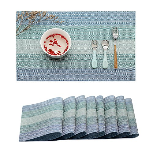 Placemat Table Mats: Heat Stain and High Temperature Resistant; Anti-Skid Washable Non-slip Insulation; Crossweave Woven Textilene Vinyl PVC for Kitchen and Dining Set of 8(Blue)