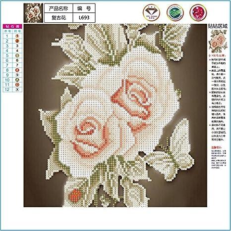 Whitelotous Retro Rose Flower 5D Diamond Painting Kit Partial Drill Rhinestone Embroidery Diamond Dotz Wall Picture Home Decor 14 x 14 Inch