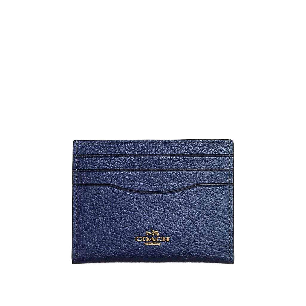 Coach Women`s Card Case (Metallic Blue(59462)/Gold, One Size)