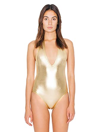 American Apparel Women s Lame Halter Bodysuit Size L Lamé Gold at ... b06144660