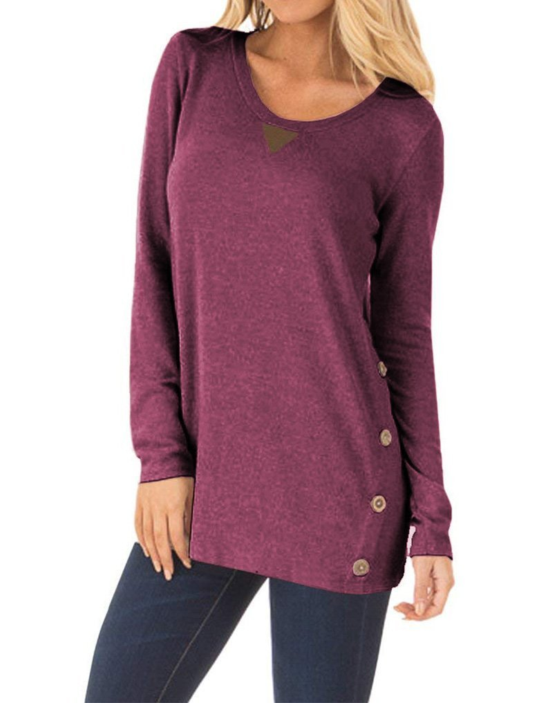 OURS Women's Cotton Long Sleeve Patchwork Tunic Tops with Buttons Wine Red S