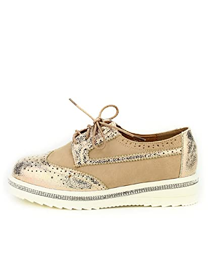 Cendriyon, Derbies Beige Bello Strass Chaussures Femme