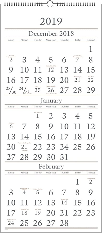 Calendario de pared AT-A-GLANCE, 2019, diciembre 2018 – enero 2020 ...