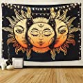 BLEUM CADE Icejazz Psychedelic Tapestry Indian Moon and Sun with Many Fractal Faces Tapestry Celestial Energy Mystic Tapestries Wall Hanging Tapestry for Bedroom Living Room Dorm