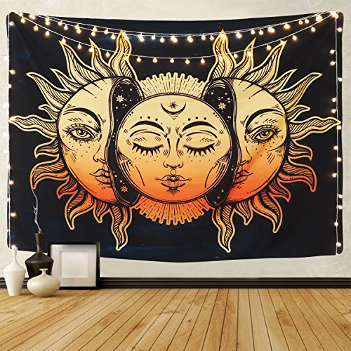 Sevenstars Sun and Moon Tapestry Burning Sun with Star Tapestry Psychedelic Tapestry Black and White Mystic Tapestry Wall Hanging (Sun and Moon, 59.1