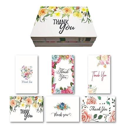 D Series - Juego de tarjetas de agradecimiento en blanco con ...
