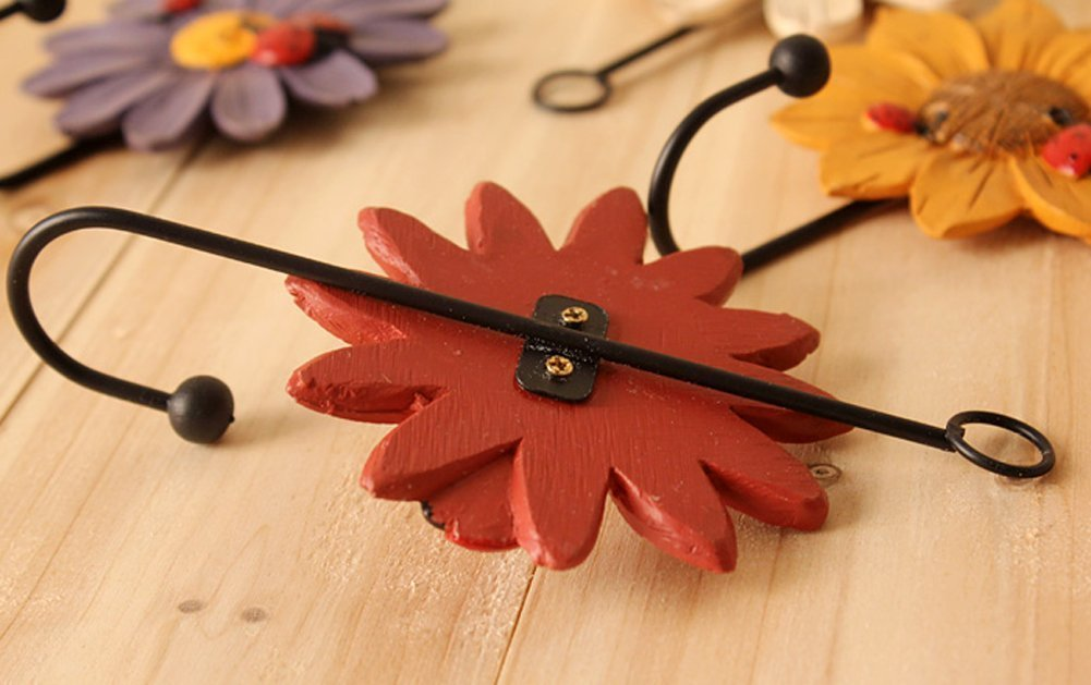 Creative Daisy Resin Wall Hooks Wall Mounted Art Flower Iron Hook Hand-painted Hanging Coat / Hat /Key/ Towel Hooks Home Decoration(Set of 4) by Skyling (Image #3)