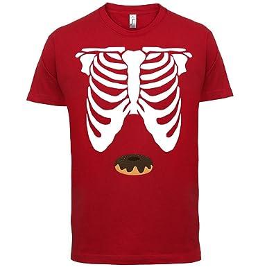 Skelett Donut Bauch - Herren T-Shirt - Rot - XS