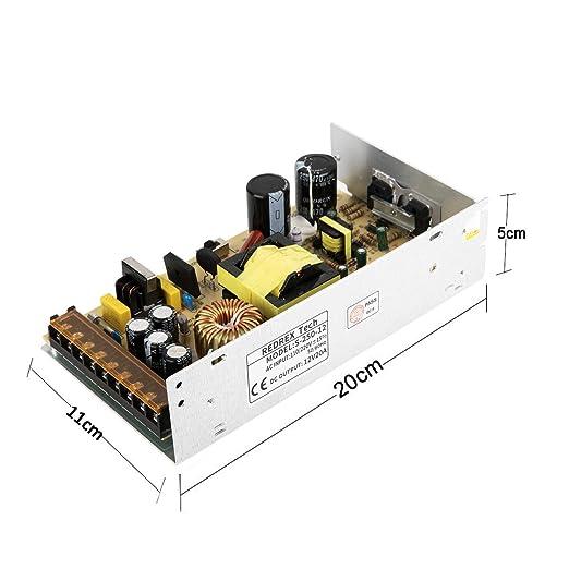 Redrex DC 12V 20A Universal Regulada Conmutación Adaptador de Alimentación de Transformador Para Impresoras 3D Tira LED Luces Proyecto Ordenador de ...
