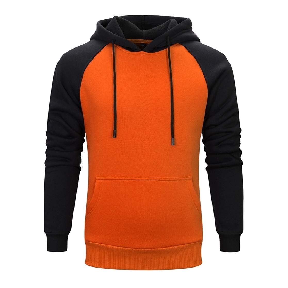 YUNY Mens Solid Winter Hood Couples Pullover Sweatshirt Top Orange S