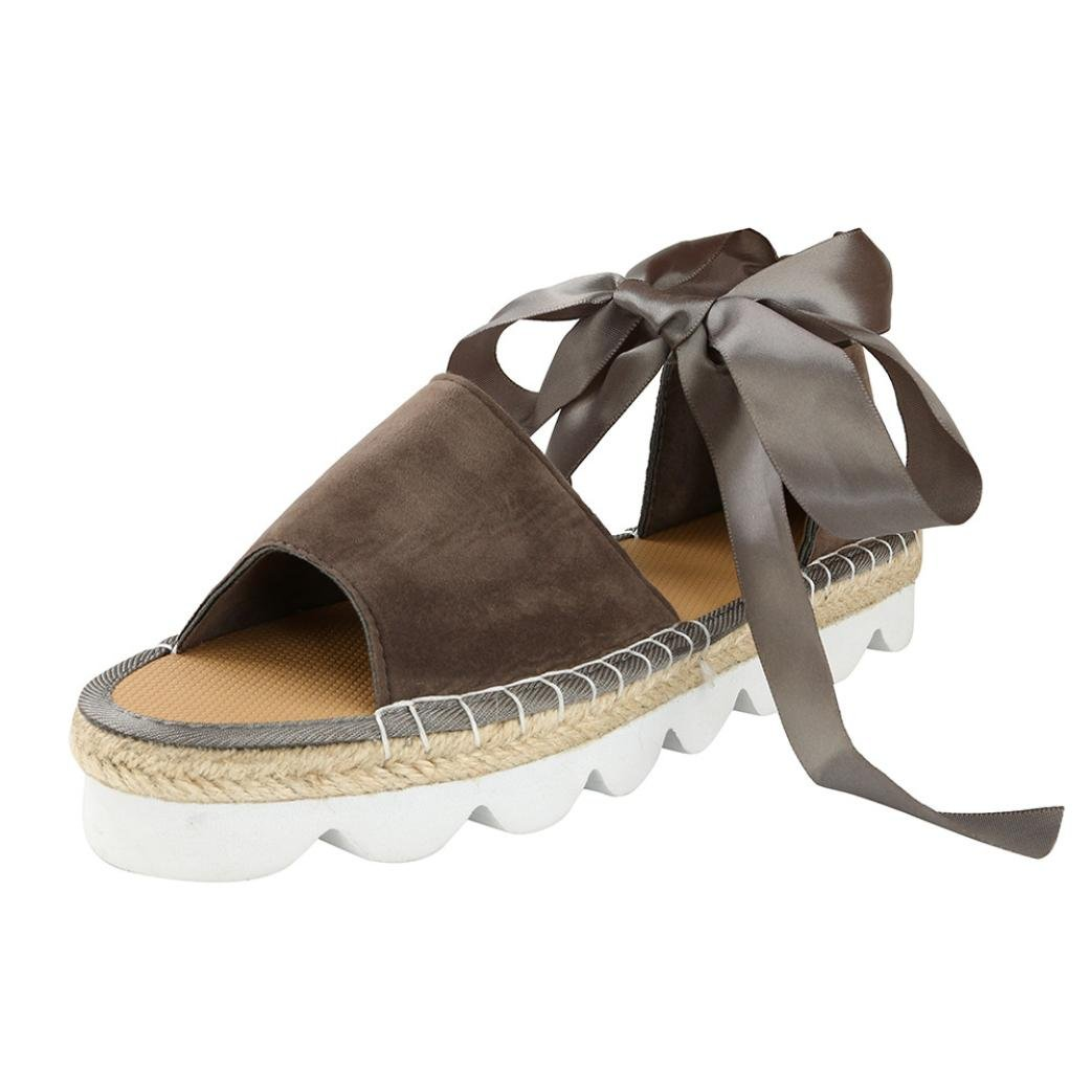 Bokeley Flat Chunky Sandals, Womens Ankle Strap Lace Up Low Heel Shoes B0747BRP1D 7.5 B(M) US|Grey