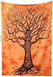 Amitus Exports(TM) Premium Quality 1 X Tree Of Life 80''x52''(Approx.) Inches Orange Color Twin Size Cotton Fabric Tapestry Hippy Indian Mandala Throws (Handmade In India)