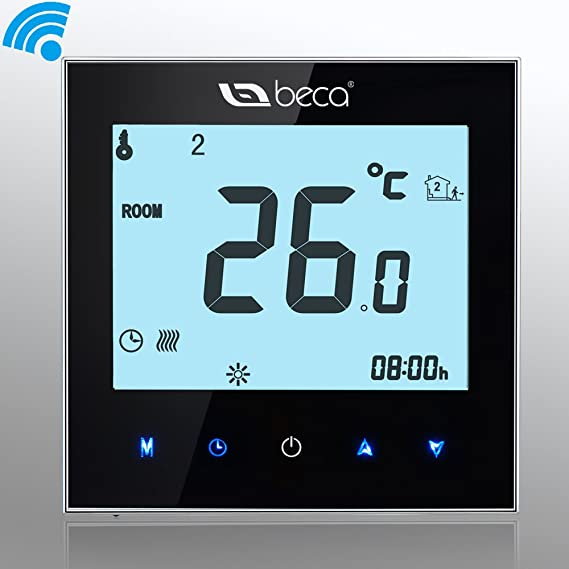 BECA 95~240VAC Data Memory Digital 5+2 six periods Weekly Programmable 3A Wi-Fi/Wifi/Smart/Internet/Network/Android/IOS Water/Gas Boiler Heating Room ...