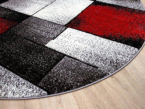 Designer teppich brilliant rot grau fantasy rund in größen