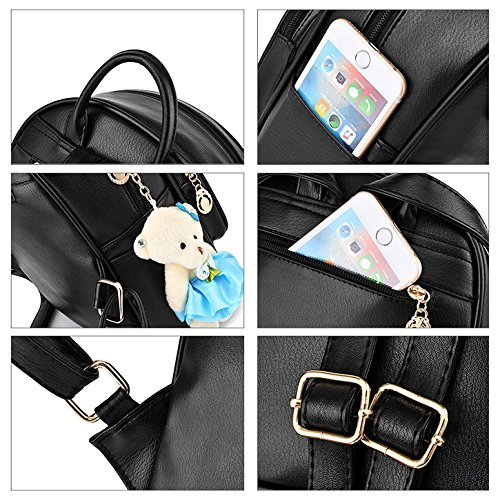 Fanshu - Bolso mochila para mujer, Negro (Negro) - SB42 Azul