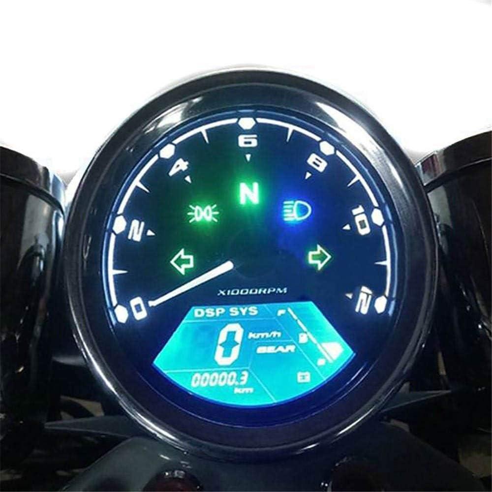 Universal Wasserdicht Schwarz 12000 RPM 8-18 V Gang Tachometer for Moto Kilometerz/ähler LYLP Motorrad Schwarz LCD Tachometer Km//H Tachometer Gauge W //
