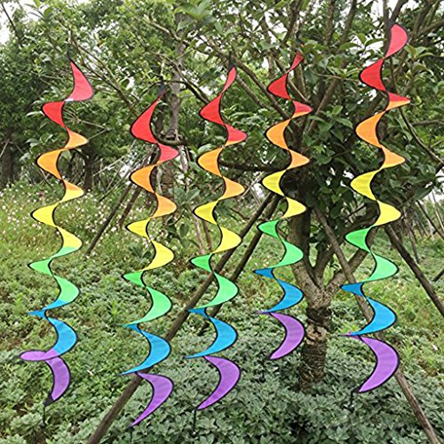 Spiral Windsock - Fenteer 55'' Rainbow Nylon Spiral Windmills Wind windsocks Camping Tent Home Garden Lawn Decor Outdoor Toy Foldable