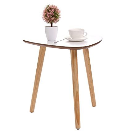 LAZYMOON Modern White Wood Triangle Accent 3 Legged Side End Table Pine  Furniture Home D Co